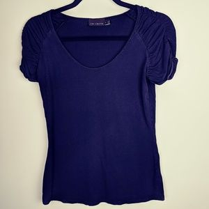 The Limited Basic Black Tee Ruched Sleeve, M